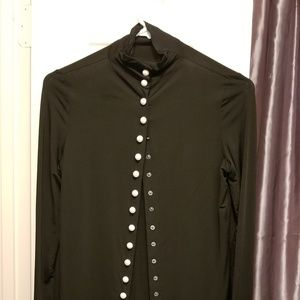 Chanel pearl blouse top black 38 M